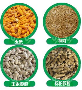 各种饲料原料与其制成的颗粒